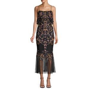 aidan mattox fully beaded popover black midi gown